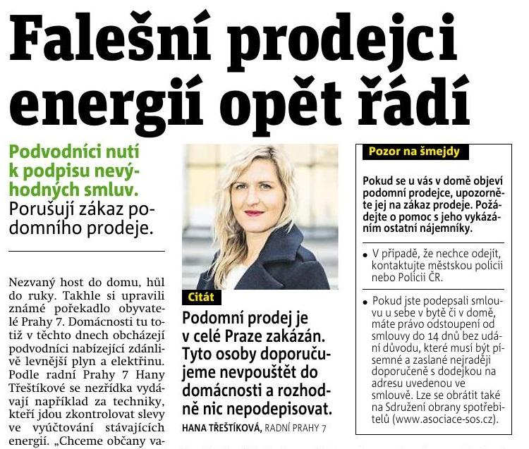 Z MÉDIÍ: Falešní prodejci energií opět řádí (Zdroj: metro.cz)